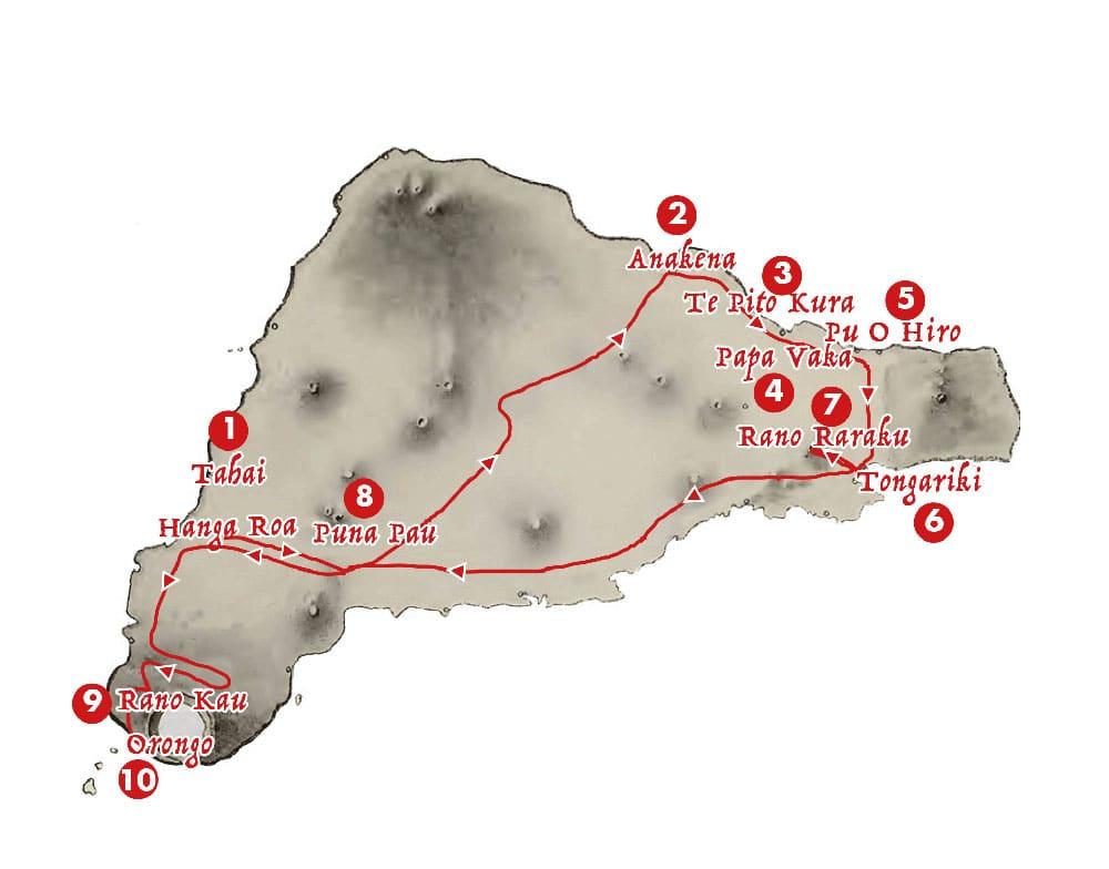 Itineraire tour full day - Aroha Tours Rapa Nui