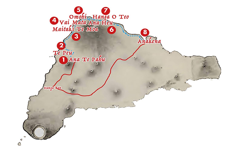 Carte randonnee d'une journee sur la cote Nord - Ile de Paques