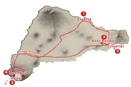 Itineraire de l'excursion guidee - Aroha Tours Rapa Nui