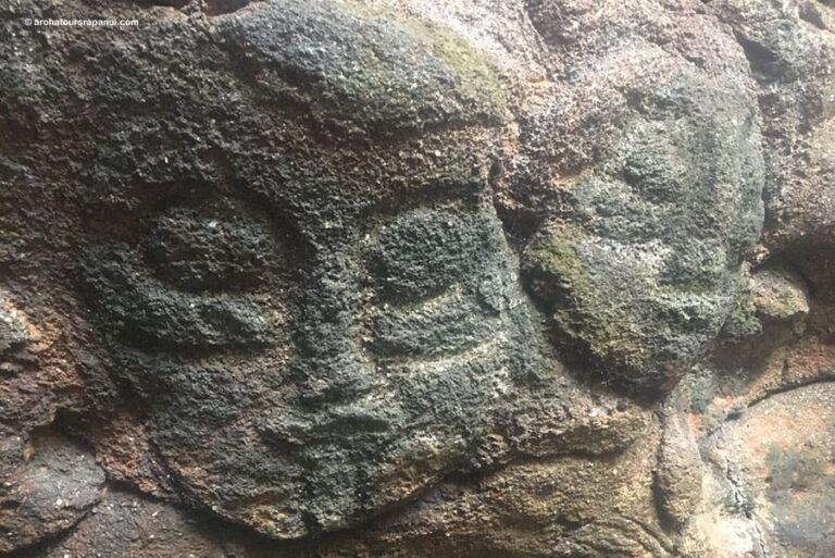 Petroglyphes double du visage du dieu Make Make - Ana Heu