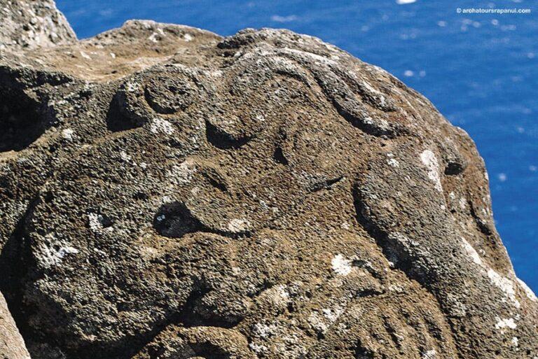 Roche gravee avec le motif du Tangata Manu - Homme-Oiseau