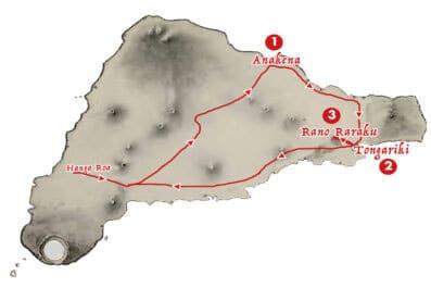 itineraire pour visiter les principaux sites archeologiques de l'ile de Paques