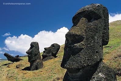 Gros plan sur le visage des Moai - Carriere des Moai