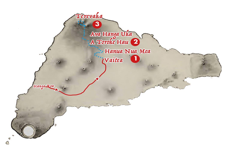Itineraire de la marche cote nord par le sommet