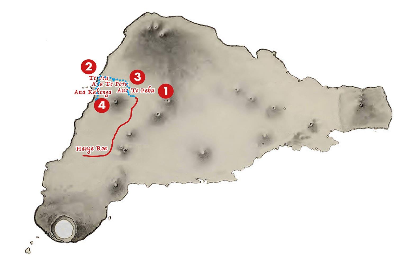 Carte de la randonnee grottes - Aroha Tours Rapa Nui