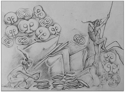 Dessin au crayon - Site d'extraction - Mont Toki
