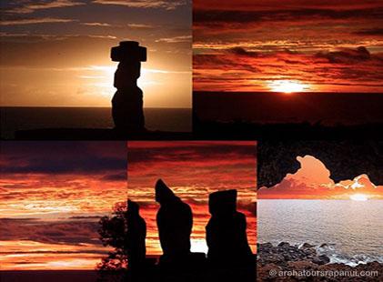 Photo-montage - Plusieurs couchers de soleil sur l'ile de Paques