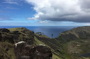 vue panoramique des trois ilots depuis la caldeira