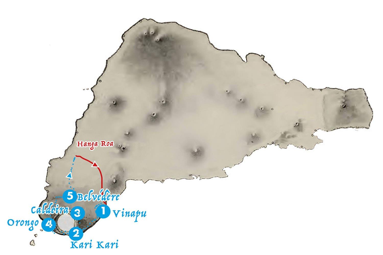 Carte de l'itineraire randonnee autour de la caldeira du volcan