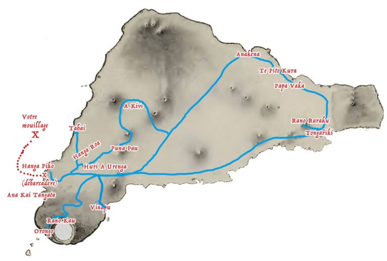Carte de l'itinéraire du circuit touristique pour les passagers des paquebots