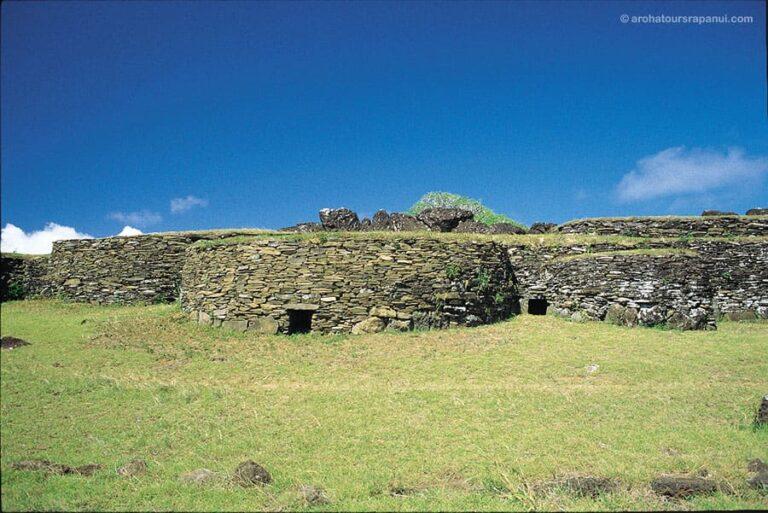 Maisons en pierre du village d'Orongo - Parc National Rapa Nui