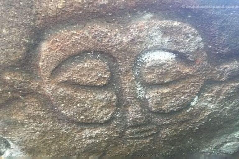Visage du dieu de l'ile de Pâques, Make Make. Pétroglyphe en bas-relief.