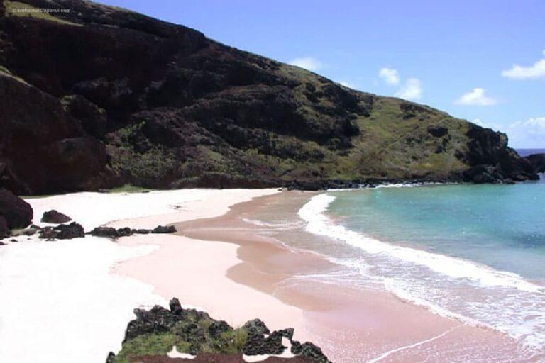 le sable rose de la plage d'Ovahe - Rapa Nui