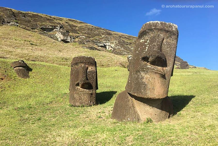 Deux têtes de statues de l'Ile de Pâques