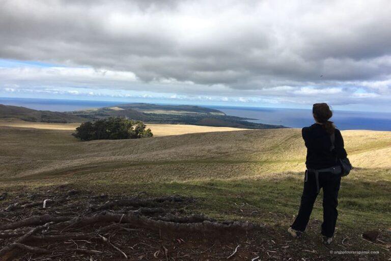Touriste profitant de la vue panoramique sur l'ile de Paques depuis le sommet